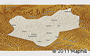 Shaded Relief Panoramic Map of Wuqi, physical outside