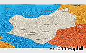 Shaded Relief Panoramic Map of Wuqi, political outside
