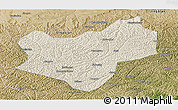 Shaded Relief Panoramic Map of Wuqi, satellite outside