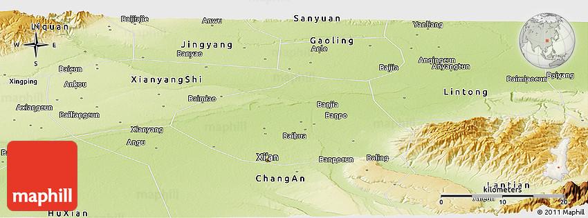 Physical Panoramic Map of Xi An Shiqu