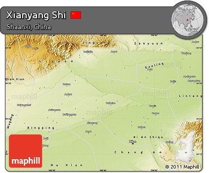 Free Physical Map Of Xianyang Shi