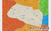 Shaded Relief Map of Yanchang, political outside