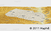 Shaded Relief Panoramic Map of Yanchang, physical outside