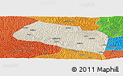 Shaded Relief Panoramic Map of Yanchang, political outside