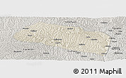 Shaded Relief Panoramic Map of Yanchang, semi-desaturated