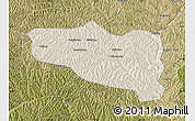 Shaded Relief Map of Yanchuan, satellite outside