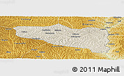 Shaded Relief Panoramic Map of Yanchuan, physical outside
