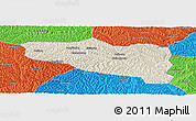 Shaded Relief Panoramic Map of Yanchuan, political outside