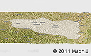 Shaded Relief Panoramic Map of Yanchuan, satellite outside