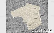 Shaded Relief Map of Yichuan, darken, desaturated