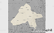 Shaded Relief Map of Yulin, darken, desaturated