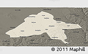Shaded Relief Panoramic Map of Yulin, darken