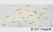 Shaded Relief Panoramic Map of Yulin, desaturated