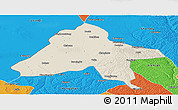 Shaded Relief Panoramic Map of Yulin, political outside