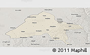 Shaded Relief Panoramic Map of Yulin, semi-desaturated