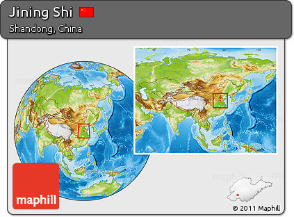 Free Physical Location Map Of Jining Shi Within The Entire Country - Jining map