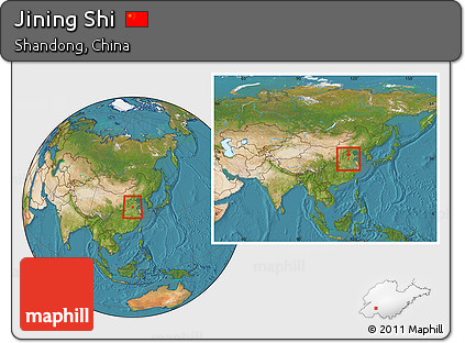 Free Satellite Location Map Of Jining Shi Within The Entire Country - Jining map