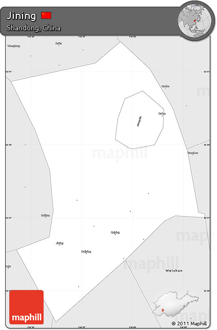 Free Silver Style Simple Map Of Jining - Jining map