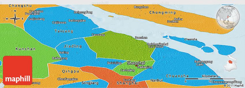 Physical Panoramic Map Of Baoshan Political Outside - Baoshan map