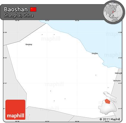 Free Silver Style Simple Map Of Baoshan - Baoshan map