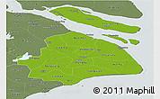 Physical Panoramic Map of Shanghai, semi-desaturated