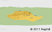Savanna Style Panoramic Map of Fenyang, single color outside