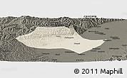Shaded Relief Panoramic Map of Fenyang, darken
