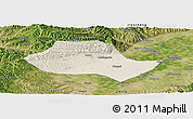 Shaded Relief Panoramic Map of Fenyang, satellite outside
