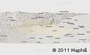 Shaded Relief Panoramic Map of Fenyang, semi-desaturated
