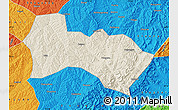 Shaded Relief Map of Heshun, political outside