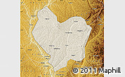 Shaded Relief Map of Lin Xian, physical outside