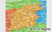 Political Shades Panoramic Map of Shanxi