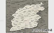 Shaded Relief Panoramic Map of Shanxi, darken