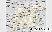 Shaded Relief Panoramic Map of Shanxi, desaturated