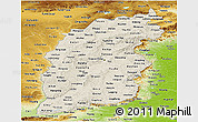 Shaded Relief Panoramic Map of Shanxi, physical outside