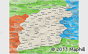 Shaded Relief Panoramic Map of Shanxi, political shades outside