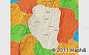 Shaded Relief Map of Qinyuan, political outside
