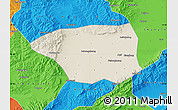Shaded Relief Map of Shuo Xian, political outside