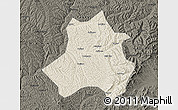 Shaded Relief Map of Xing Xian, darken
