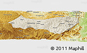 Shaded Relief Panoramic Map of Xiyang, physical outside