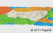 Shaded Relief Panoramic Map of Xiyang, political outside