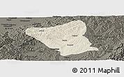 Shaded Relief Panoramic Map of Yushe, darken