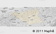 Shaded Relief Panoramic Map of Yushe, desaturated
