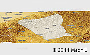 Shaded Relief Panoramic Map of Yushe, physical outside