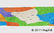 Shaded Relief Panoramic Map of Yushe, political outside