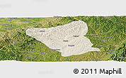 Shaded Relief Panoramic Map of Yushe, satellite outside