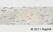 Shaded Relief Panoramic Map of Yushe, semi-desaturated