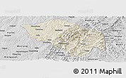 Shaded Relief Panoramic Map of Zuoquan, desaturated