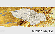 Shaded Relief Panoramic Map of Zuoquan, physical outside