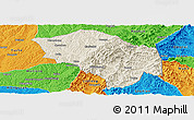 Shaded Relief Panoramic Map of Zuoquan, political outside